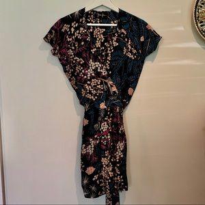 Yumi kim silk floral dot wrap mini black dress XS